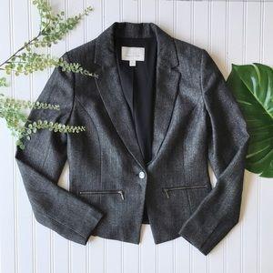 Hinge blazer grey button front zip pocket edgy